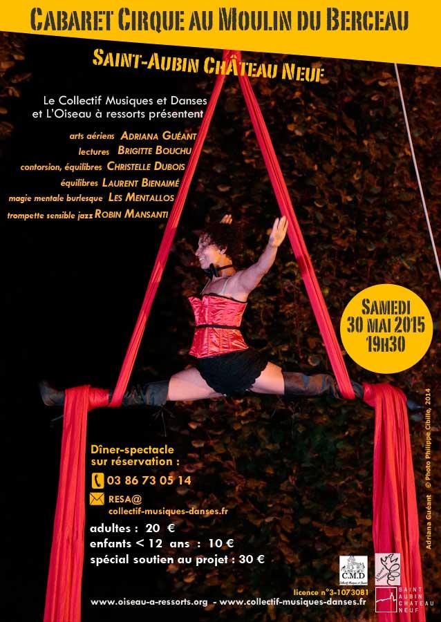 Affiche pour le cabaret-cirque du 30 mai. Adriana Guéant, aérien, photo Philippe Cibille